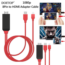 DOITOP 1080P 8 Pin to HDMI Cable HDTV Digital AV Adapter Smart Converter HDMI Cable for Apple for iPhone 7 6 6S Plus for ipad O5