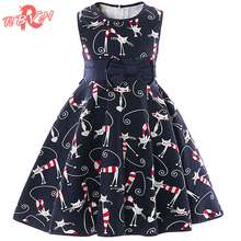 Baby Girl Kitty Cat Dress for Party Toddler Bebes 2-6 Year Birthday Dress Little Girl Boutique Outfits Child Prom Dress Designs