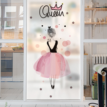 Free Custom-made Size Stained Glass Window Film Privacy Frosted Static Cling Decorative Home Decor Pink Girl Cartoon Design(China)