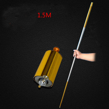 1pc 150CM length golden Silver cudgel metal Appearing Cane magic tricks for professional magician stage street magic Props(China)