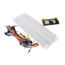 1 pcs 3.3V/5V Breadboard power module+ 1 pcs 830 points  Bread board kit + 1pcs 65 Flexible jumper wires for arduino