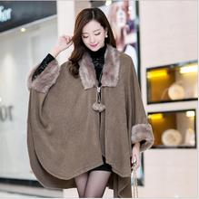 Wraps Scarves Coats Faux fur 2016 autumn new Korean yards shawl cape coat female fashion knitted sweater free shipping