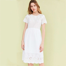Fashion White Lace Women Dress Casual Elegant Beach Sexy Party Dress Plus Size Ropa Mujer Ladies Dresses Beautiful Cheap 50F055(China)