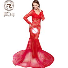 Leechee Q884 latex women lingerie sexy hot erotic floral bodysuit perspective nightwear long dinner party dress porn sexy shop(China)