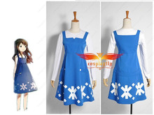 Anime movie Wolf Children Ame and Yuki Yuki Dress Cosplay Costume Custom made2017 Two Pieces Girl Dress Suit  (W0380)