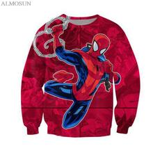 ALMOSUN New Fashion Anime Spider Crewneck Sweatshirts 3D Print Cartoon Pullover Jumper Man Women Sweats Clothing