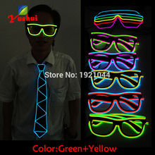 Double Colors Sound activated EL Wire Led Glasses Glow Party Lighting Colorful Glowing Classic Toys For Dj Bar Holiday Gift(China)