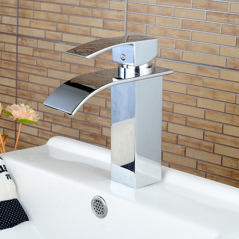 Deck Mount Chrome Finish Basin Faucet Bath Vanity Sink Tap Waterfall Spout Mixer Faucet One Hole Tap<br><br>Aliexpress