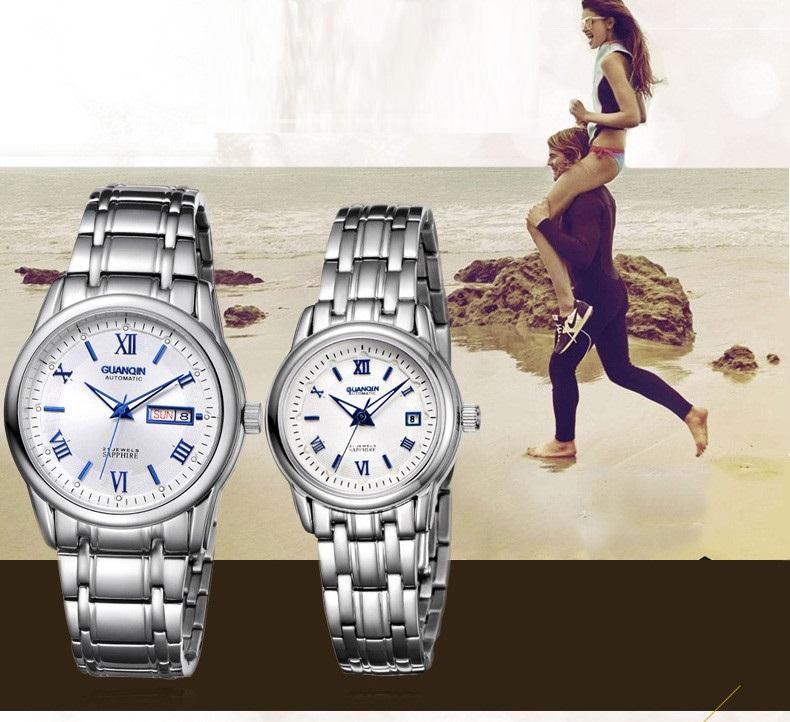 1 Pair GUANQIN Lovers Mechanical Watches Couple Automatic Watch Men Women Clock Auto Date Luminous Waterproof Brand Watch Men (8)