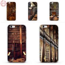EJGROUP Book Library For iPhone 4 4S 5 5C SE 6 6S 7 8 Plus X Soft TPU Silicon Cute Skin(China)