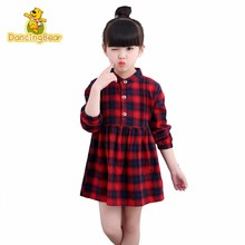 DancingBear Spring Clothes Children Lattice Small And Medium Virgin Baby Long Sleeve Shirt girls Dress(China)