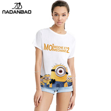 NADANBAO 2016 Fashion Autumn Women Shirt Wholesale Printed Tees Short Sleeve Small Yellow People Tops T Shirts Women Clothing(China)
