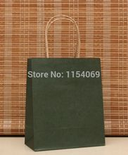 Hotsale 20pcs/lot 18x15x8cm Dark Green Kraft Paper Bag Shopping Jewelry Boutique Gift Packaging Paper Gift Bags With Handle