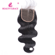 Beauty Grace Brazilian Body Wave Lace Closure With Baby Hair 4x4 Remy 100% Human Hair Middle Part Top Closures(China)