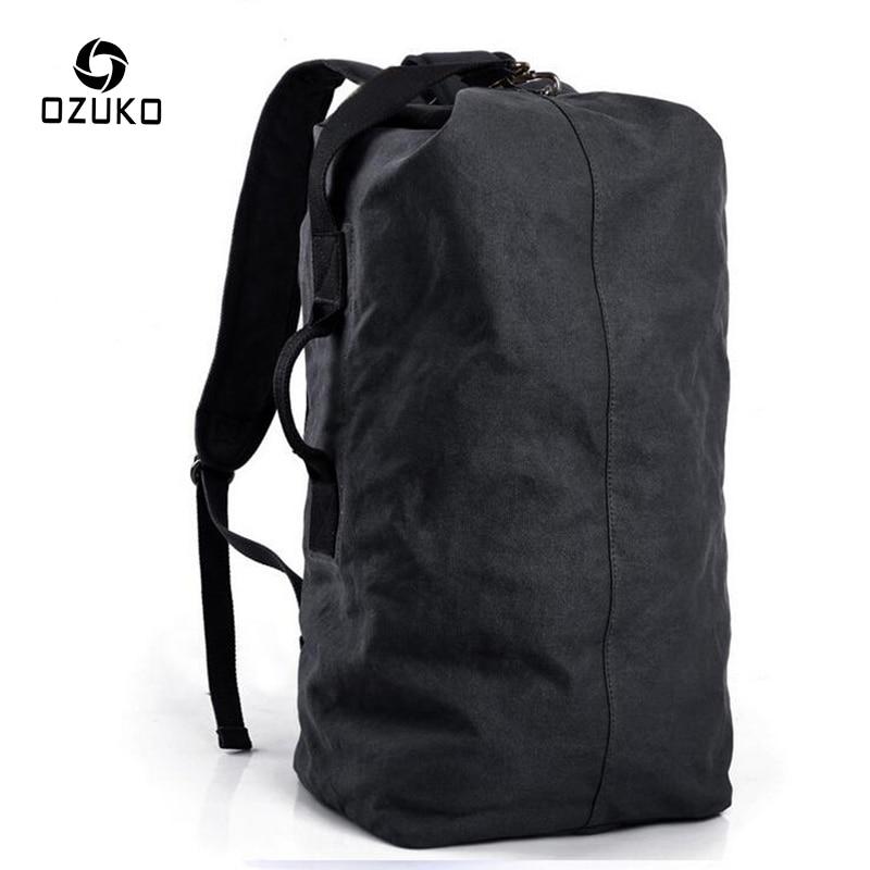 OZUKO Large Capacity Mens backpack Travel Canvas Rucksack Vintage Fashion Multifunctional Casual Travel Shoulder Bag Mochila<br>