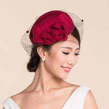 Retail Vintage Lady Women black Wool Felt Pillbox Fascinator Party Wedding Hat with Bow Veil rose pink