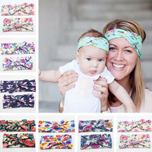 1set mom and baby fabric flowers print tie bow hair bands turban hair accessories for women kids,headdress headbands bandana