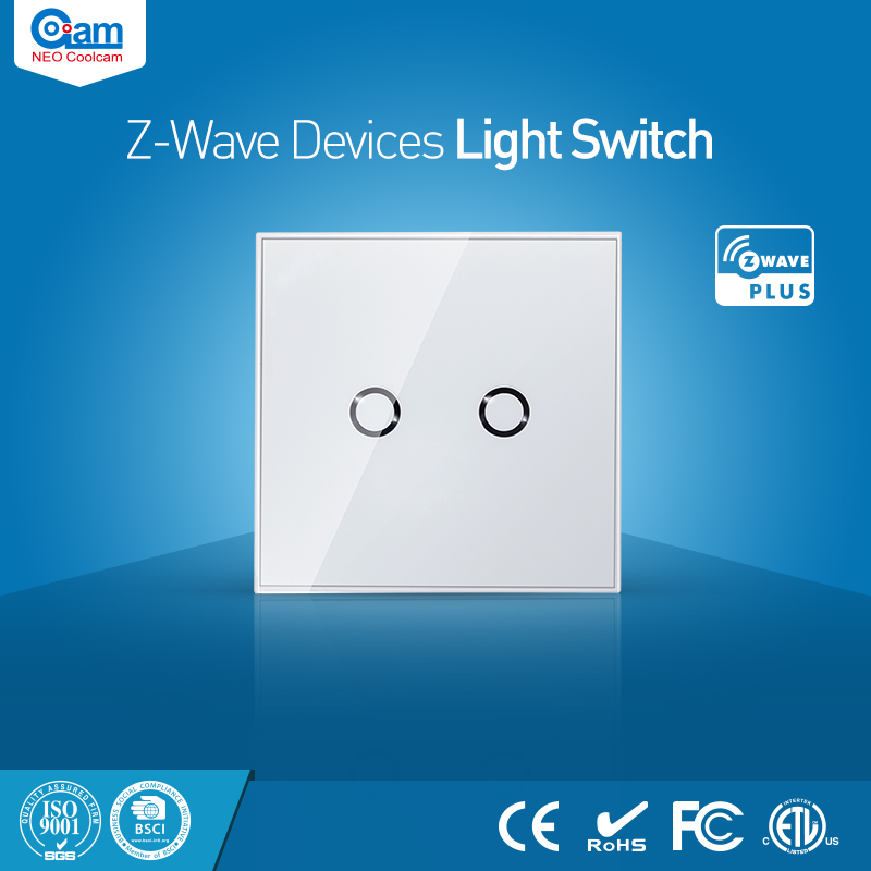 NEO Coolcam Smart Home Z-Wave 2CH EU Wall Switch Sensor Compatible with Z-wave 300 series and 500 series Home Automation<br>