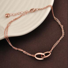 VOGUESS Double Circle Multilayer Fashion Foot Bracelet Leg Chain Women Titanium Stainless Steel Rose Gold Color Fashion Ankle