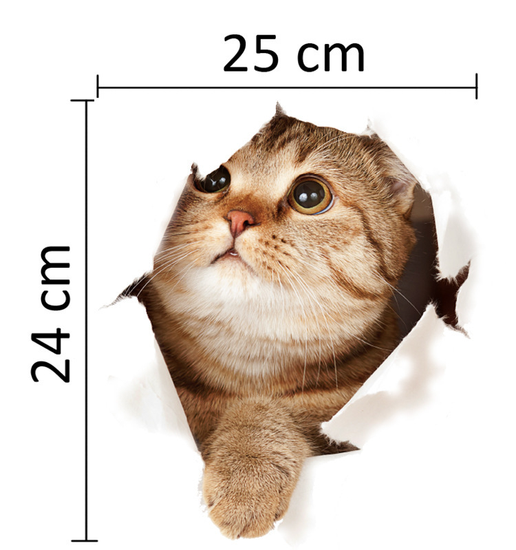HTB1QIOujlDH8KJjSspnq6zNAVXat - 3D Lovely Cat Wall Sticker