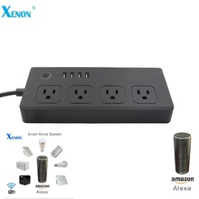 Xenon Cool Black Smart WiFi Power Socket US Multi Plug Works with Amazon Alexa echo and Google Home Assistant(China)