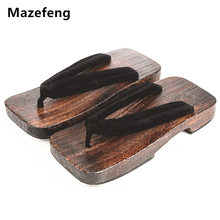 New Summer Fashion Male Platform Shoes Print Wood Men geta sandals Men China Geta Clogs Classial Wooden Slippers Mens Flip Flops(China)