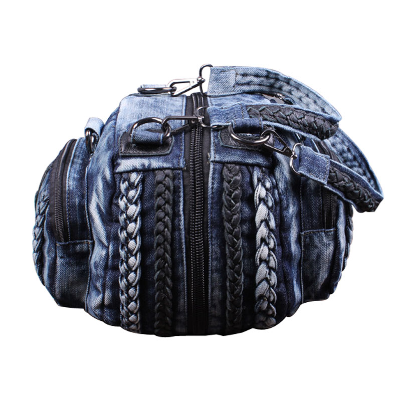 Funny small round zippers for sewing denim jean bags high quality  jeans handbag weaved designer portable travel shoulder bags <br>