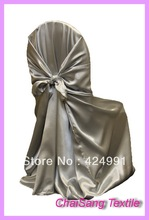 Grey Sliver  Satin Universal Chair Cover , Satin Back Self Tie Chair Cover for Wedding Decoration