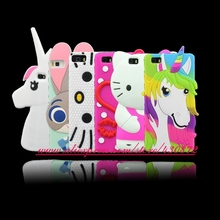 Fashion 3D Silicon Sexy Lip Colorful Unicorn Bunny Stitch Soft Cell Phone Back Skin Cover Case for Huawei Ascend P8 LITE