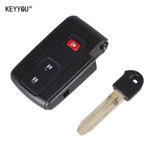 KEYYOU 2+1 3 Buttons Car Remote Key Shell Case Fob For Toyota Prius 2004-2009 Toy43 Blade With Logo Free Shipping