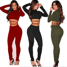 Missufe Women Autumn 2 Piece Set Casual Full Pants Long Sleeve Crop Top Tight Bandage Tacksuit For Femme(China)