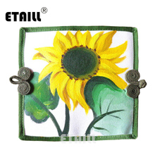 ETAILL Sunflower Hand Painted Wallet Cotton Long Purse Day Clutch Casual Holders Linen Party Day Clutch Handbag Bolsas Feminina(China)