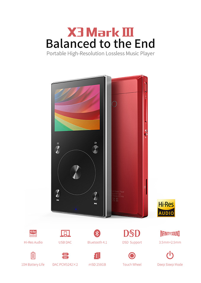 Bundle Sale of FiiO Portable Hi-Res Music Player X3 MKIII With FiiO Headphone Amplifier A5