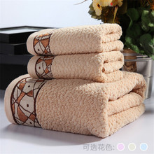 qiuchuang 3 pieces Abstract style 100% cotton Towel Set Face Bath embroidery towels Free shipping(China)