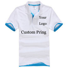 Custom Poloshirt Customized Printing Logo Service Screen Embroidery Print Shirts company/hotel/Staff Unisex Short Sleeves Cotton(China)