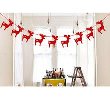 Christmas Garland Bunting Flags XMAS Deer Tree Socks Elk Letters Home Market Mall Decorations Party Banner Decor(China)