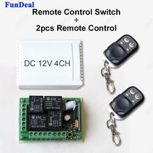 433Mhz Universal 12V 4CH Relay Wireless Remote Control Switch Receiver Integrated Circuits Module and 2pcs RF 433Mhz Transmitter(China)