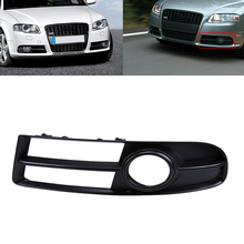 Black Car Front Bumper Lower Left Side Fog Light Grille For Audi A4 B7 Sport Headlight Fog Lights Protect Parts Car-Styling(China)