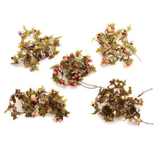 220cm/240cm Fake Silk Roses Ivy Vine Artificial Flowers With Green Leaves For Home Wedding Decoration Hanging Garland Decor