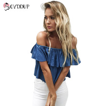 2017 summer new fashion women's blue denim blouse sexy strapless Slash neck shirts ruffles loose short tops plus size