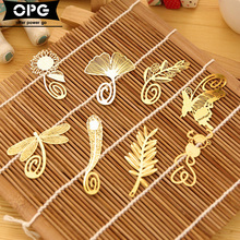 Mini Cute Kawaii Gold Metal Bookmark Paper Clip Antique Plated Butterfly Dragonfly Bookmarks Korean Statioenry Free shipping