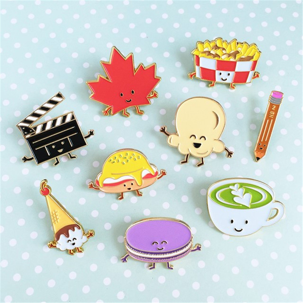 Cute cartoon series chips burgers cute girl leaves enamel brooch French clothes drip collar collar needle Pin wholesale(China (Mainland))