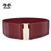 Fashion Brand Cowskin Belts Waistband For Women Elastic Cummerbund Patent Leather Woman Belt Leather Wide Women's Belts Cinto(China)
