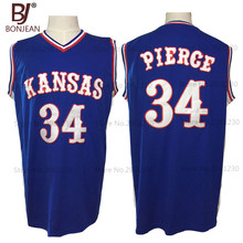 2017 BONJEAN Cheap Paul Pierce 34 Kansas Jayhawks KU College Throwback Basketball Jersey Blue Embroidery Retro Mens Shirts(China)