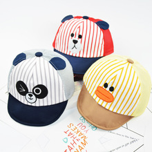 HAPPYTAIL Cute Baby Cartoon Hat Kids Animal Baseball Cap Panda Duck Bear Character Soft Cotton Cap for Boys and Girls 1-3 Years