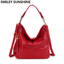 SMILEY SUNSHINE brand serpentine leather women handbags hobo tote bag female tassel big women shoulder bags ladies crossobdy bag(China)