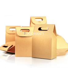 30Pcs Disposable Brown Kraft Paper Cake Boxes Food Packaging Box For Wedding , Festival Party Custom Logo Printed Accept