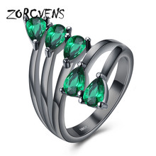 ZORCVENS Women Green Ring Fashion Black Gold Color Jewelry Crystal Cubic Zirconia Wedding Party Lady Engagement Rings