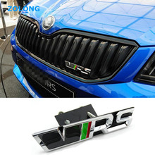 Car Styling 3D Sticker VRS Emblem Decal Grille Chrome RS Badge for Skoda Octavia A7 2 A5 Fabia Rapid Yeti Superb 2 Felicia 1 3(China)