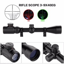 3-9x40EG Red Green Illuminated Laser Hunting Rifle Scope Sight Mil-dot Reticle RL6-0015
